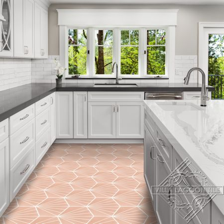 """Spark C Coral"" hex cement tile kitchen floor, from Villa Lagoon Tile."