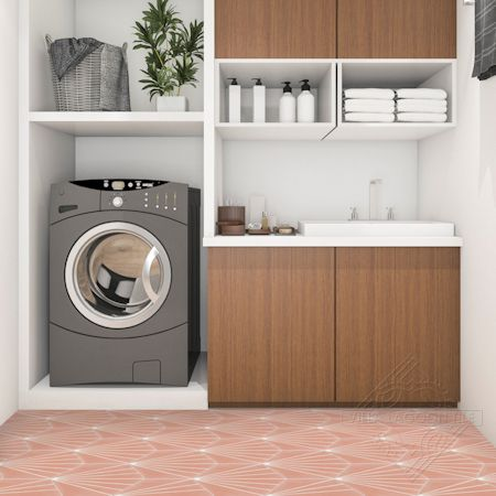 """Spark C Coral"" hex cement tile laundry room floor, from Villa Lagoon Tile."