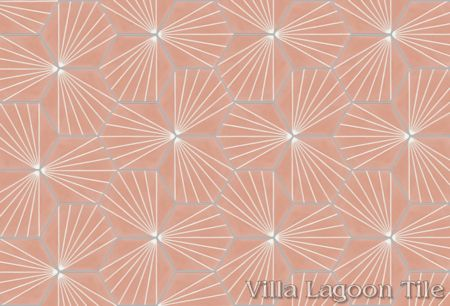 """Spark C Coral"" hex cement tile, from Villa Lagoon Tile."
