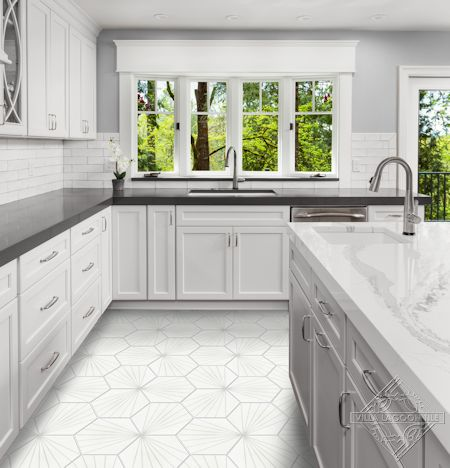 """Spark C Dover"" hex cement tile kitchen floor, from Villa Lagoon Tile."
