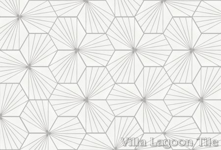 """Spark C Grigio"" hex cement tile, from Villa Lagoon Tile"