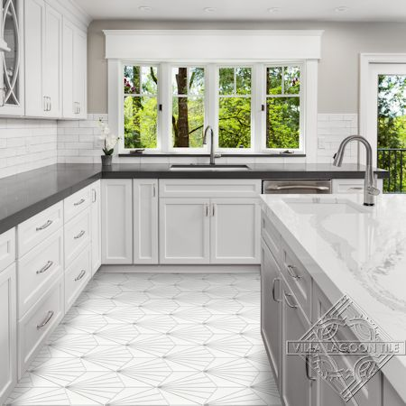 """Spark C Grigio"" hex cement tile kitchen floor, from Villa Lagoon Tile"