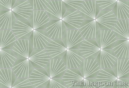 """Spark C May"" hex cement tile, from Villa Lagoon Tile"