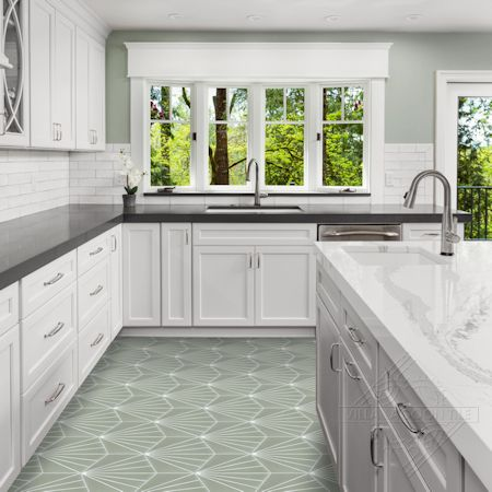 """Spark C May"" hex cement tile kitchen floor, from Villa Lagoon Tile"