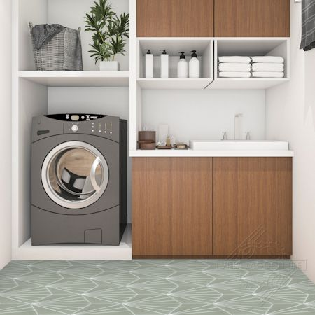 """Spark C May"" hex cement tile laundry floor, from Villa Lagoon Tile."