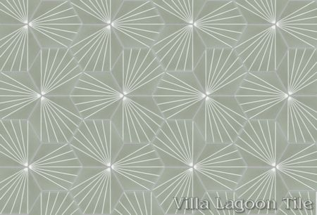 """Spark C May"" hex cement tile, from Villa Lagoon Tile."