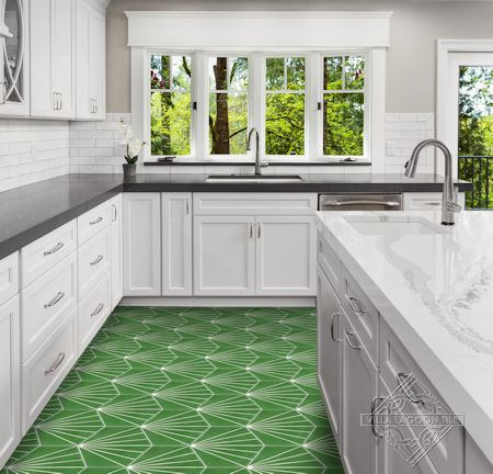 """Spark C Monte Verde"" hex cement tile kitchen floor, from Villa Lagoon Tile"
