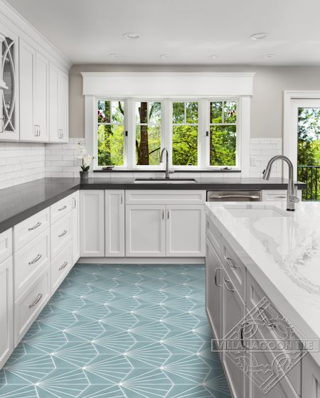 """Spark C Stone Blue"" hex cement tile kitchen floor, from Villa Lagoon Tile"