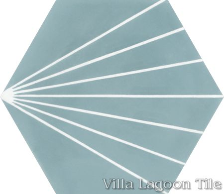 """Spark C Stone Blue"" hex cement tile, from Villa Lagoon Tile."