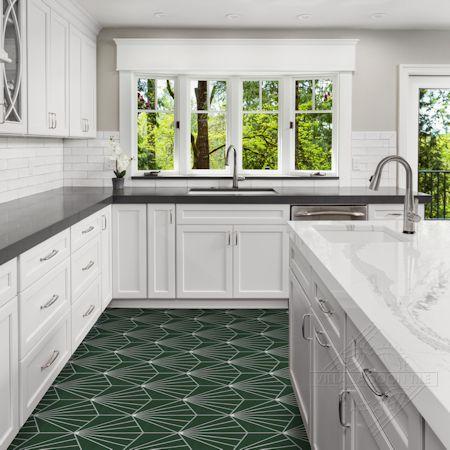 """Spark C Summer"" hex cement tile kitchen floor, from Villa Lagoon Tile"