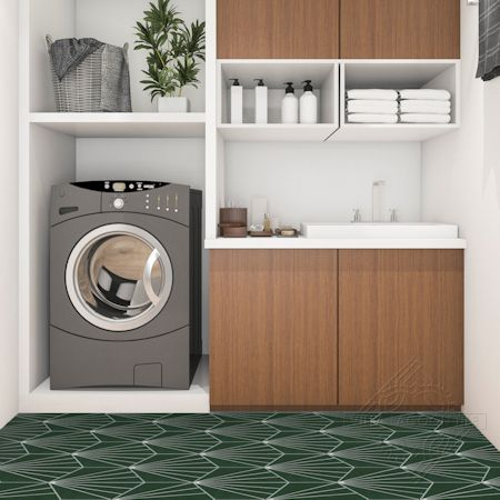 """Spark C Summer"" hex cement tile laundry floor, from Villa Lagoon Tile."