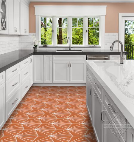 """Spark C Tangerine"" hex cement tile kitchen floor, from Villa Lagoon Tile"