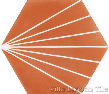 """Spark C Tangerine"" hex cement tile, from Villa Lagoon Tile."