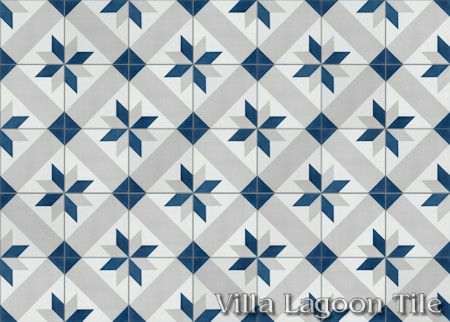 Star Lattice Nautique cement tile, in a 7x5 layout.