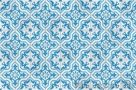 Talia Azure cement tile, in a 9x6 layout.