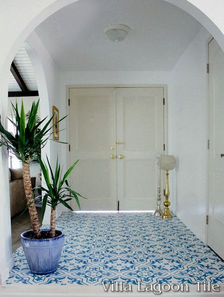 Talia Azure cement tile, from Villa Lagoon Tile.