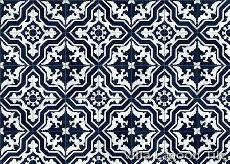 Talia Navy cement tile, in a 9x6 layout.