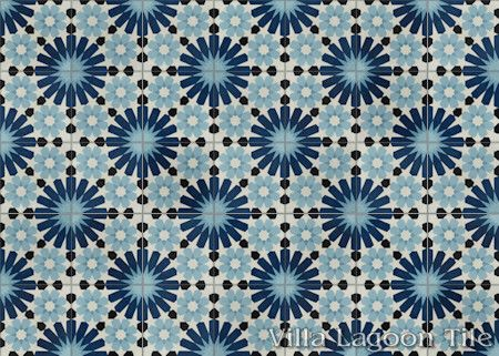 Tangier Blues cement tile, in a 7x5 layout.