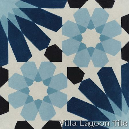 Tangier Blues cement tile, from Villa Lagoon Tile.