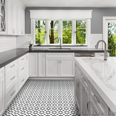 Taza Black and White Morning cement tile kitchen floor, from Villa Lagoon Tile.
