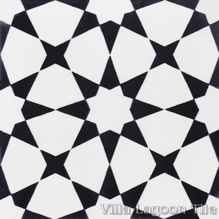 Taza Black and White Morning cement tile, from Villa Lagoon Tile.
