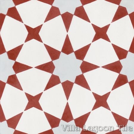 Taza Red cement tile, from Villa Lagoon Tile.