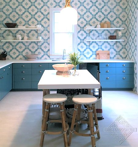 Katie Velvet Sky cement tile kitchen floor, from Villa Lagoon Tile.