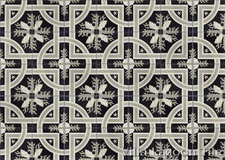 Trapani Midnight cement tile, in a 7x5 layout, from Villa Lagoon Tile.