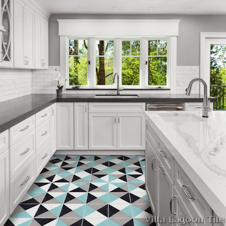 Tugboat Four-Color cement tile kitchen floor, from Villa Lagoon Tile.