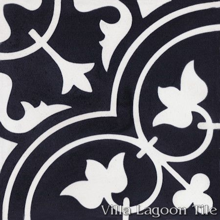 Tulips B Black and White Evening cement tile, from Villa Lagoon Tile.