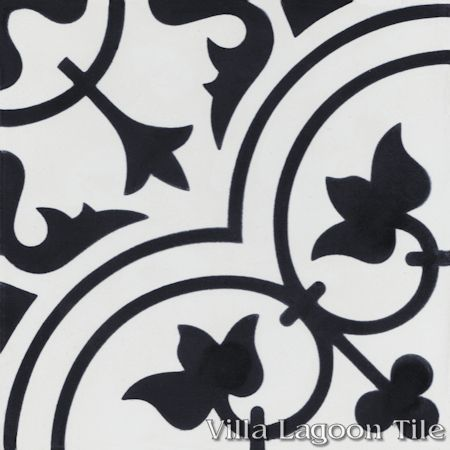 Tulips B Black and White Morning cement tile, from Villa Lagoon Tile.
