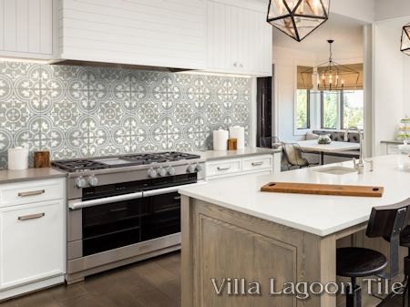 Tulips B Holland cement tile backsplash, from Villa Lagoon Tile.