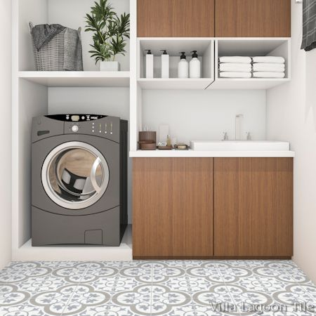 """Tulips B Vintage"" cement tile laundry room floor, by Villa Lagoon Tile."