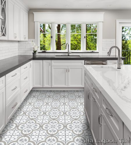 """Tulips B Vintage"" cement tile floor, by Villa Lagoon Tile."