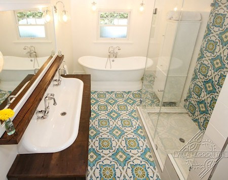 Amalena Meadow cement tile bathroom, by Villa Lagoon Tile.