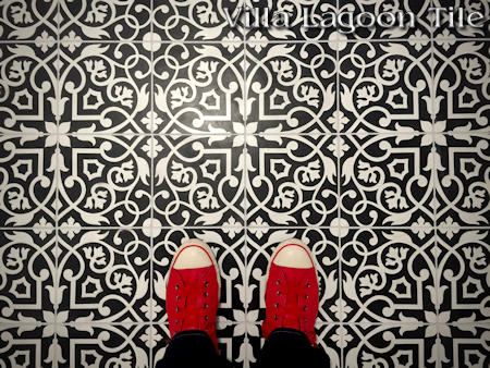 Gypsy Black and White cement tile, a Villa Lagoon Tile exlcusive.