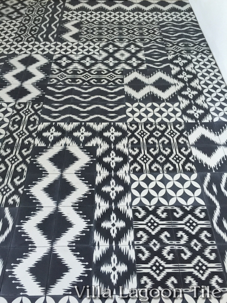 Mixed Ikat and Circulos black and white cement tile installation, from Villa Lagoon Tile.