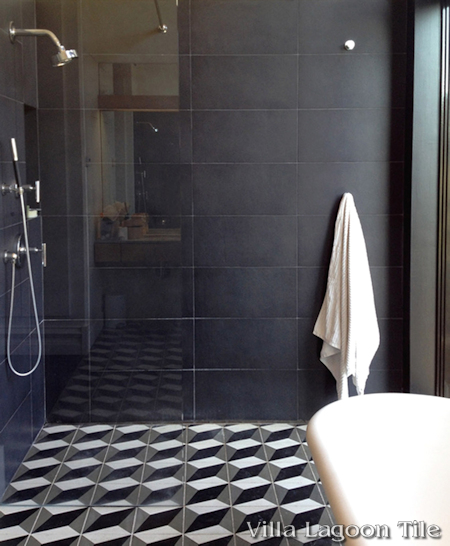 Large Cubes cement tile bathroom floor and shower installation, from Villa Lagoon Tile.