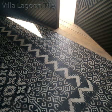 Mixed Ikat Tile layout in Malolam Cantina, El Paso, TX.