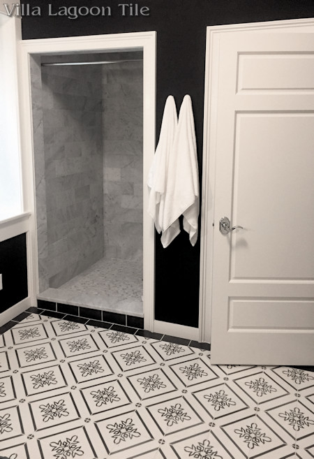 """Marbella Seagull"" cement tile bathroom floor, from Villa Lagoon Tile."