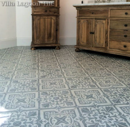 Nuevo Castillo Carrara cement tile from Villa Lagoon Tile in a beautiful Atlanta bathroom.