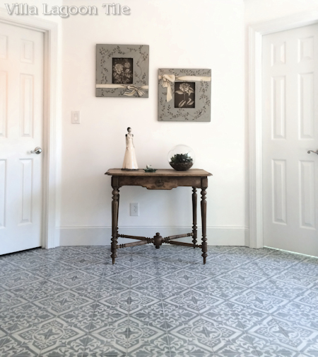 Nuevo Castillo Carrara cement tile from Villa Lagoon Tile in an beautiful Atlanta installation.