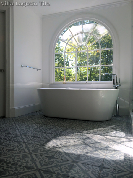 Nuevo Castillo Carrara cement tile from Villa Lagoon Tile in an Atlanta master bath, with a freestanding tub.