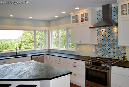 Tangier and Atmosphere Hex cement tile backsplash, from Villa Lagoon Tile.