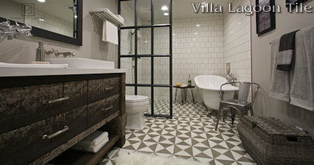 Tugboat Featherstone and White cement tile bathroom using Villa Lagoon Tile, by Ridgecrest Designs.