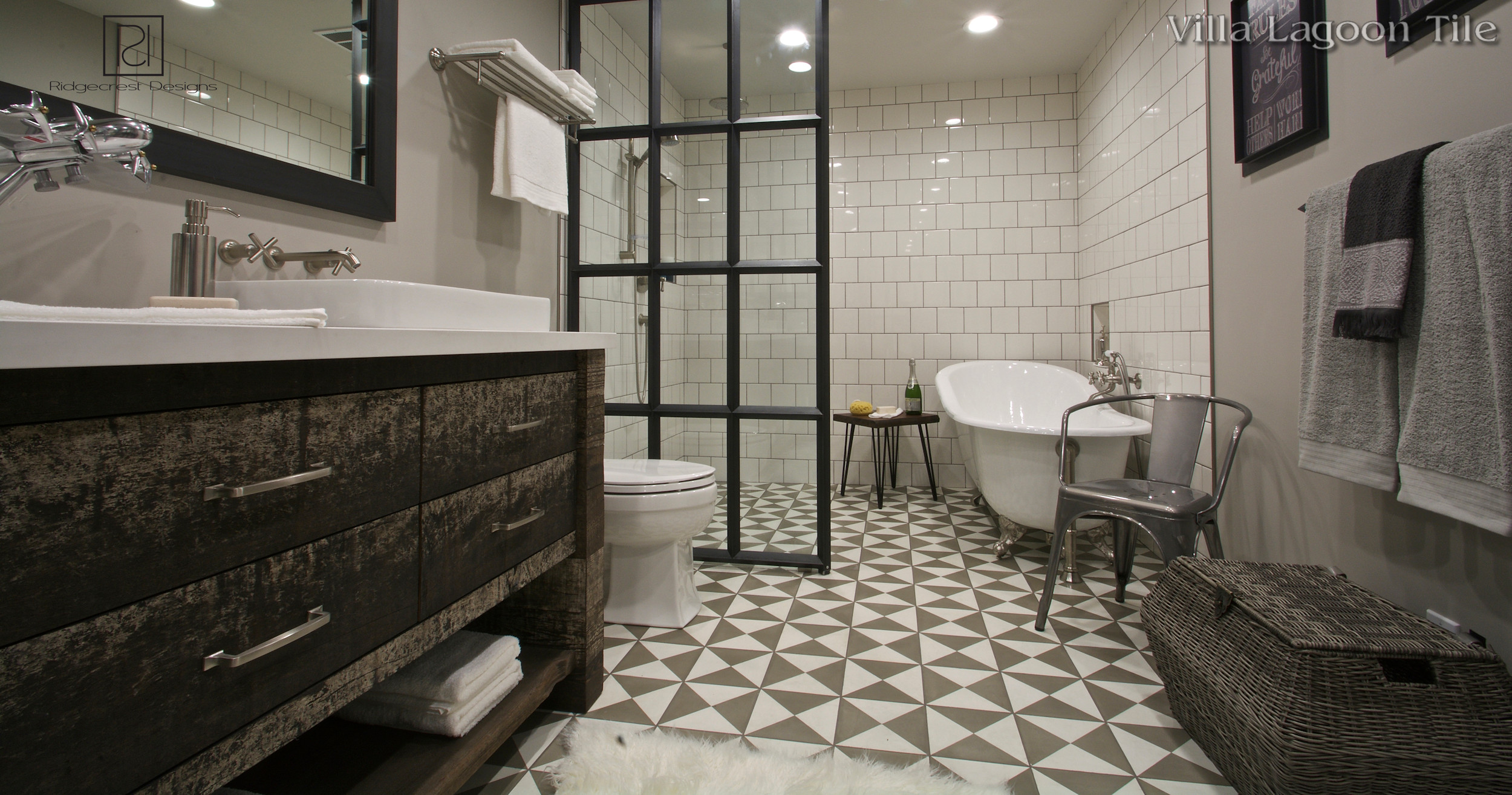 Cement bathroom tiles - Click For Larger Image Tugboat Featherstone And White Cement Tile Bathroom