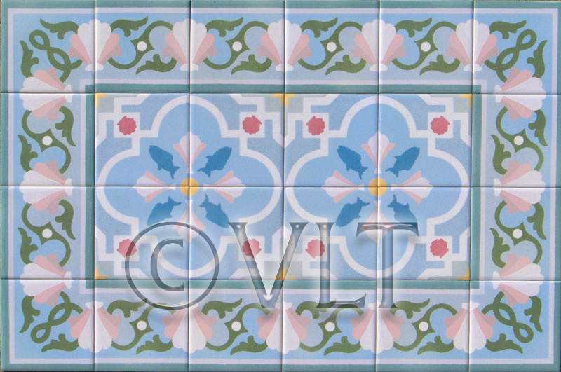 tile transfered to white ceramic tile and heat set for a durability