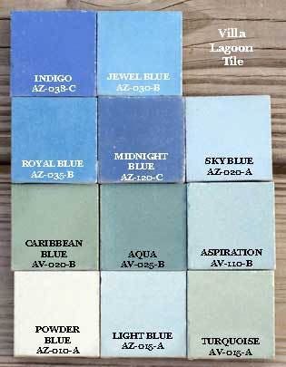 Blue colors cement tiles tints