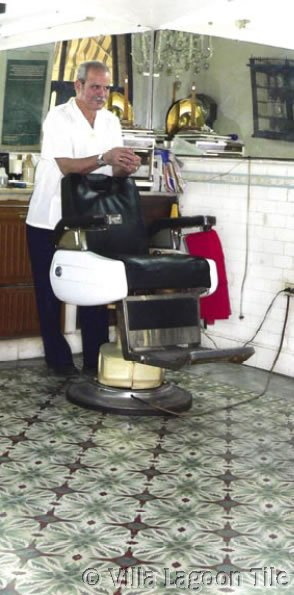 Cuban tile in barbershop