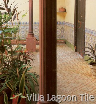 Old Cuban courtyard tile flooring